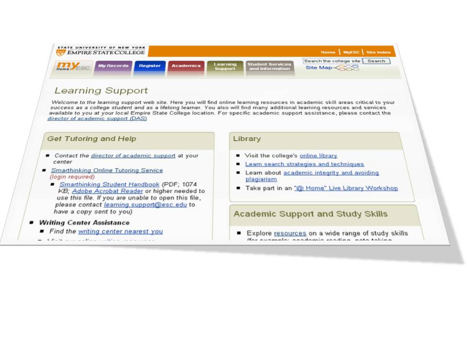 Necacademicsupport Myesc Learning Support Tab
